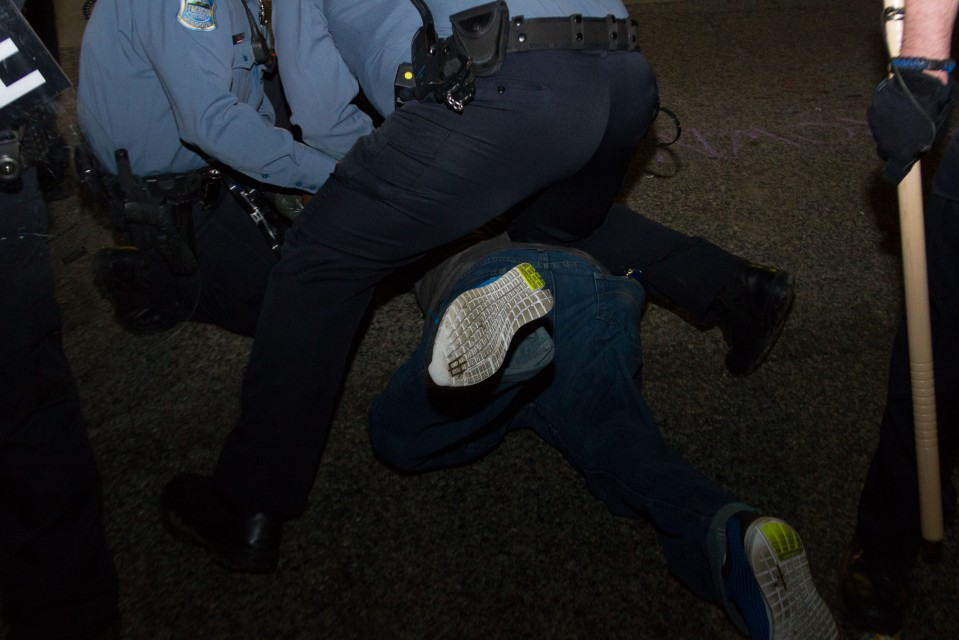 Arrest at protest after the Chief of Police in Ferguson, MO resigned.