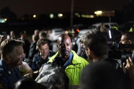 Captain Ron Johnson speaking to press in Ferguson on August 17, 2014.