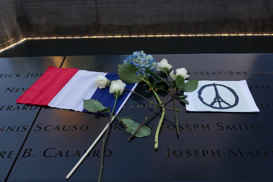 The National September 11 Memorial after a peace rally for France.