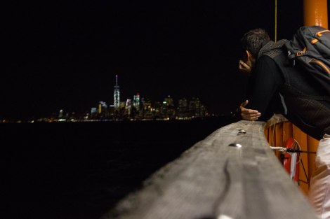 Riding the Staten Island Ferry back to Manhattan.