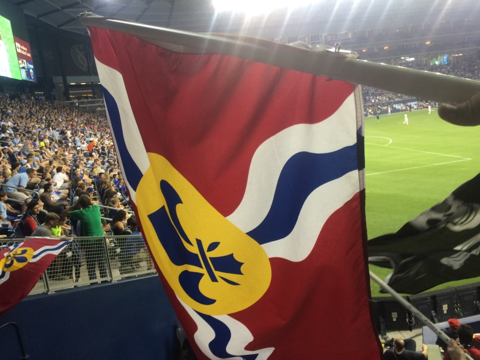 The St. Louis flag at the St. Louis FC vs Sporting KC in the fourth round of the US Open Cup game.