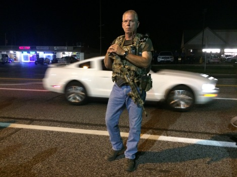 A member of the Oathkeepers at a protest in Ferguson, MO.