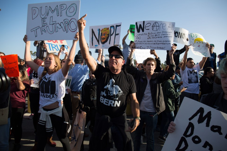 Anti Trump protesters outside the Donald Trump rally in Costa Mesa, CA.