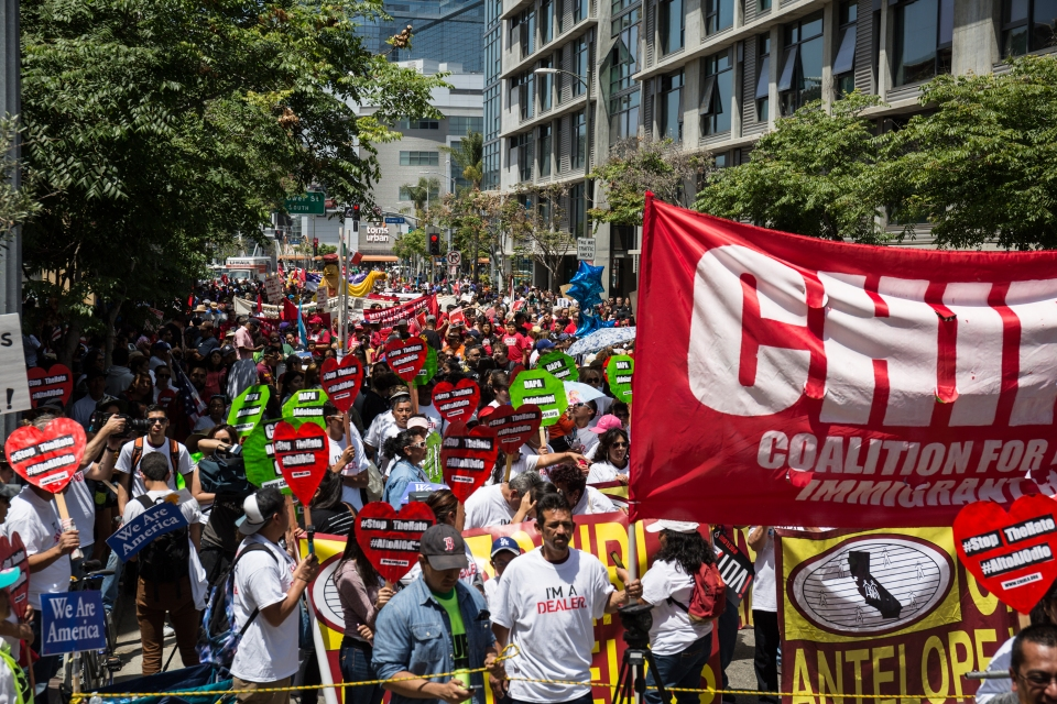 The crowd at the International Workers' Day march in Downtown Los Angeles, CA.