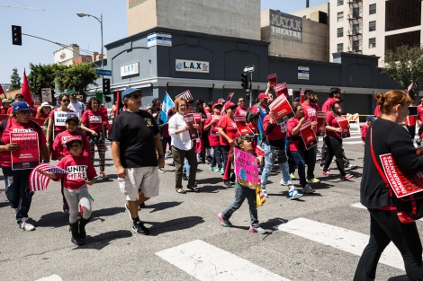 The group Unite Here! marches in Downtown Los Angeles for International Workers' Day.