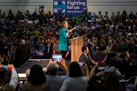 Hillary Clinton gives a speech at her campaign rally at East Los Angeles College on May 5, 2016.