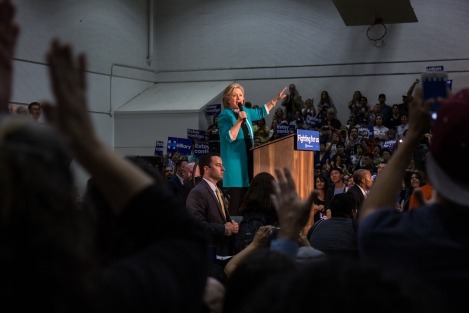 Hillary Clinton at her rally at East Los Angeles College. She spoke about immigration, raising the minimum wage, and equal pay for women. May 5, 2016