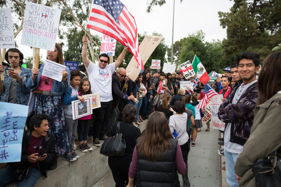 Protesters who lined up along the exit of the gymnasium at East Los Angeles College where Hillary Clinton supporters have to walk through. May 5, 2016