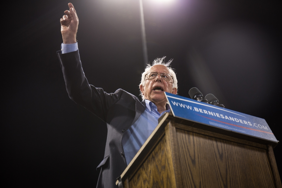 Democratic presidential candidate Bernie Sanders speaks to a crowd of his supporters for his primary campaign in Carson, CA on May 17, 2016.
