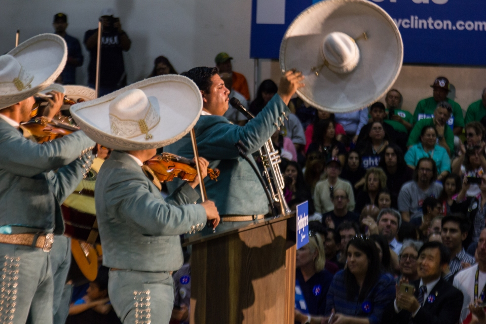 A mariachi band plays before speeches are given by politicians to introduce Hillary Clinton.