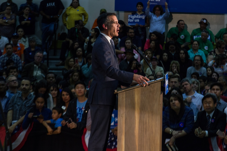 Los Angeles Mayor Eric Garcetti introduces Hillary Clinton at East Los Angeles College. May 5, 2016